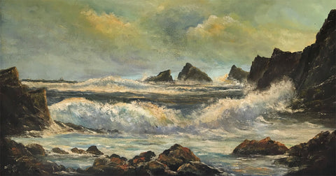 O.A. Everitt, Storm at Hartland Point, North Devon - Original 1977 oil painting
