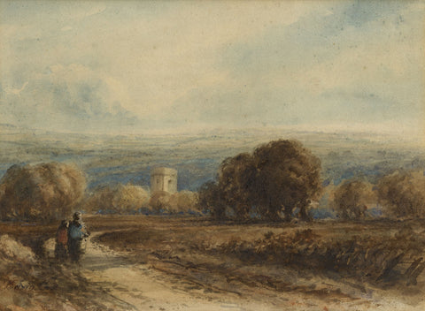 Attrib. David Cox OWS, Figures on Rural Track -19th-century watercolour painting