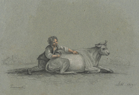 M. Heber, Boy with Resting Cow after Francesco Zuccarelli RA -1819 chalk drawing