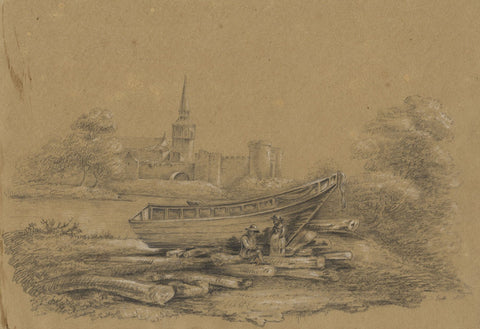 M. Heber, Boat & Figures by River after George Cuitt - 1818 graphite drawing