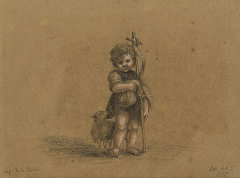 M. Heber, Saint John the Baptist after Stefano della Bella-1818 graphite drawing