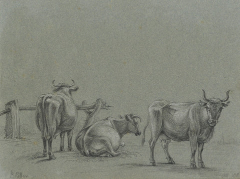 M. Heber, Cattle after Paulus Potter - Original 1818 graphite drawing