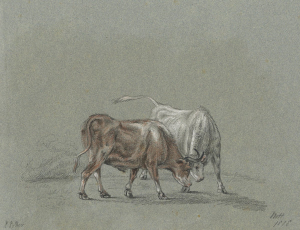 M. Heber, Fighting Bulls after Paulus Potter - Original 1818 graphite drawing