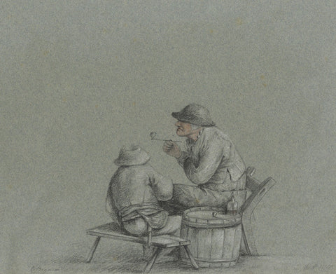 M. Heber, Peasants Drinking after Cornelis Dusart - 1818 graphite drawing