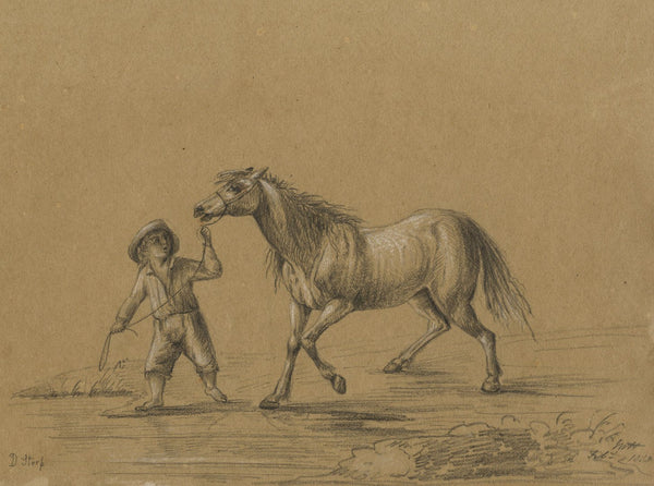 M. Heber, Peasant Leading a Horse after Dirk Stoop - 1818 graphite drawing