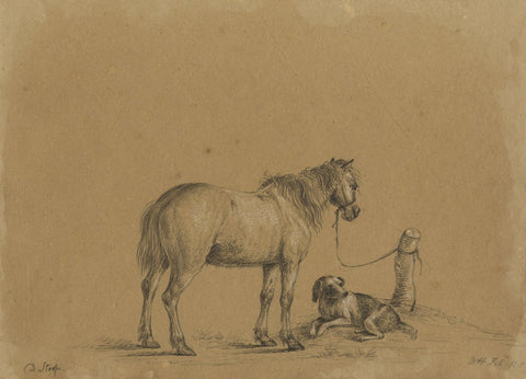 M. Heber, Tethered Horse and a Dog after Dirk Stoop - 1818 graphite drawing