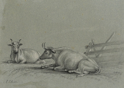 M. Heber, Cows after Paulus Potter - Original 1817 graphite drawing