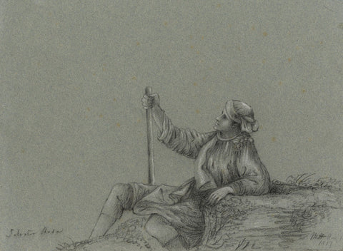 M. Heber, Peasant with Staff after Salvator Rosa -Original 1817 graphite drawing