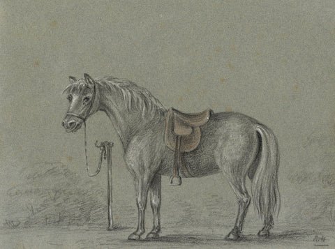 M. Heber, Tethered Horse - Original 1818 graphite drawing