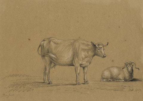 M. Heber, Cow & Sheep after Nichlas Berghem - Original 1817 graphite drawing