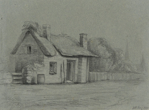 M. Heber, Thatched Cottage near Church - Original 1818 chalk drawing