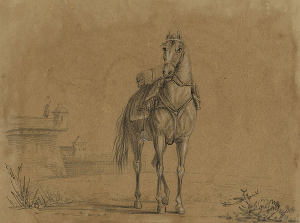 M. Heber, Horse by Castle Ramparts - Original 1818 chalk drawing