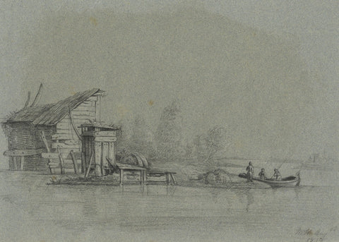 M. Heber, Boat & Figures on River - Original 1818 chalk drawing