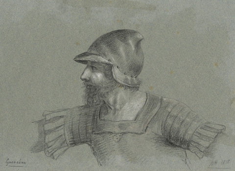 M. Heber, Armoured Soldier after Guercino - Original 1818 chalk drawing