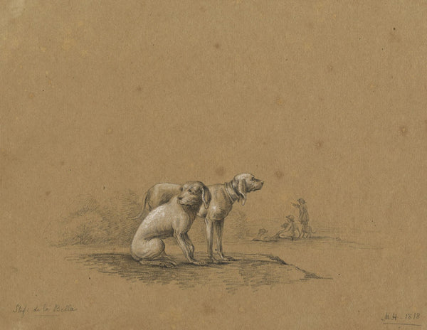 M. Heber, Two Hounds after Stefano della Bella - Original 1818 graphite drawing