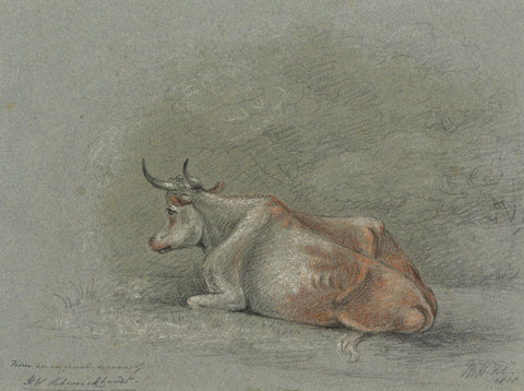 M. Heber, Cow after Heinrich Wilhelm Schweickhardt - Original 1818 chalk drawing
