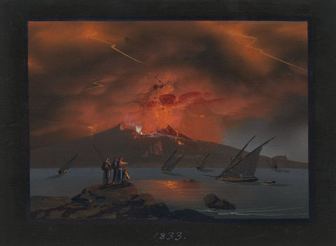 Neapolitan School, Vesuvius in Eruption, Bay of Naples - 1833 gouache painting