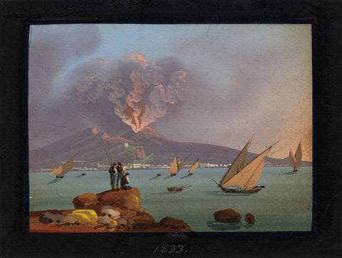 Neapolitan School, Mount Vesuvius, Bay of Naples - 1833 gouache painting