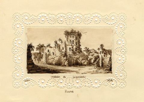 T.V., Chateau Le Havre Miniature on Perforated Paper -1839 watercolour painting