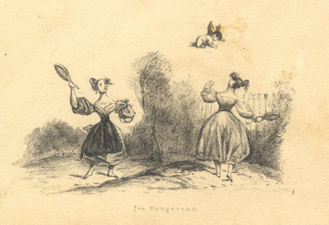 Dangerous Game, Jeu Dangereux - 19th-century miniature graphite drawing
