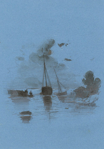Sailing Boats on Inlet - Original early 19th-century watercolour painting