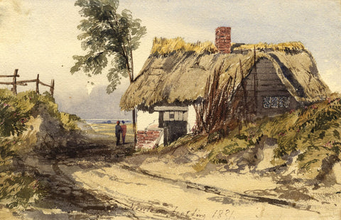 Newton Smith Limbird Fielding, Figures by Thatched Cottage - 1831 watercolour