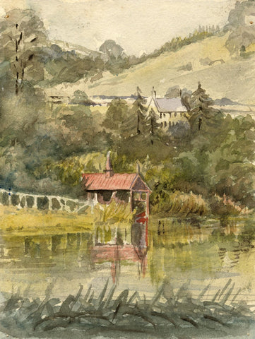 M. Conway, Boat House & Lake, Combe Hay Manor, Bath - 1895 watercolour painting