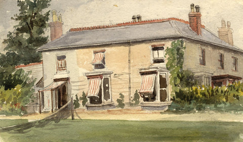 M. Conway, County House, Beaumont, Plympton - Original 1895 watercolour painting