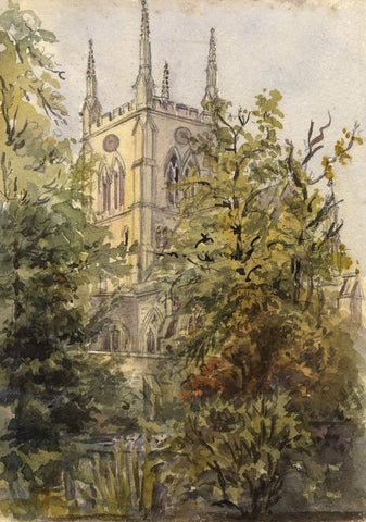 M. Conway, Rochester Cathedral - Original 1894 watercolour painting