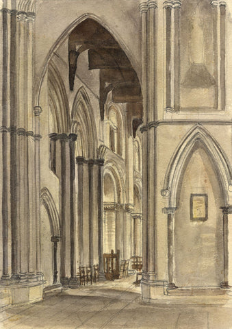M. Conway, Interior, Rochester Cathedral - Original 1894 watercolour painting