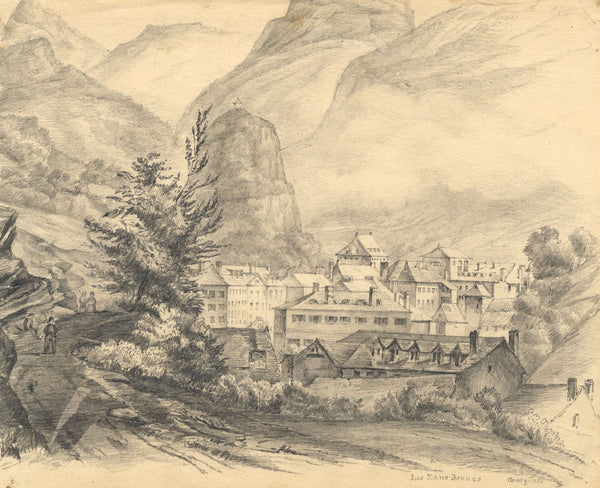 Auory, Eaux-Bonnes, Pyrenees, France - Original 1838 graphite drawing