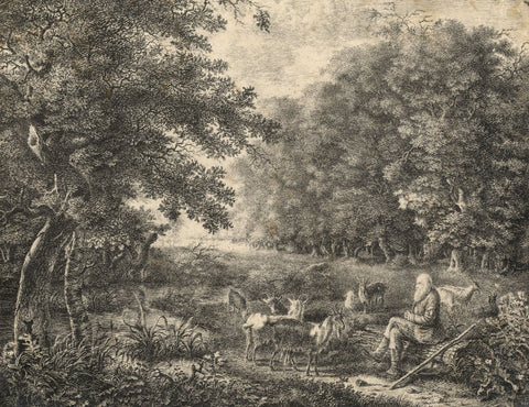 Resting Goat Herder - Original 19th-century pen & ink drawing