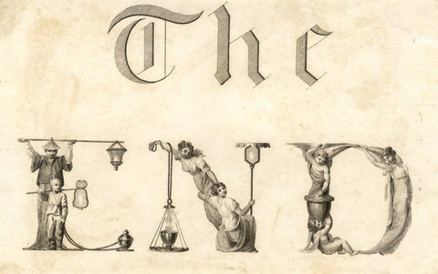 Victorian Bookplate-style Typography 'The End' - 19th-century engraving print