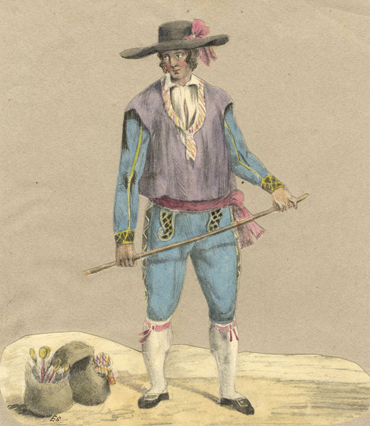 E.S., Swiss Canton Man's Costume - Original 19th-century watercolour painting