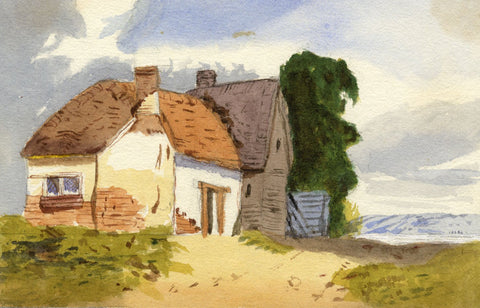 Mildred Robinson, Rural Cottage - Original 1875 watercolour painting