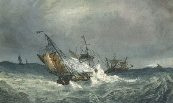Mildred Robinson, Fishing Boats in Squally Seas - 1878 watercolour painting