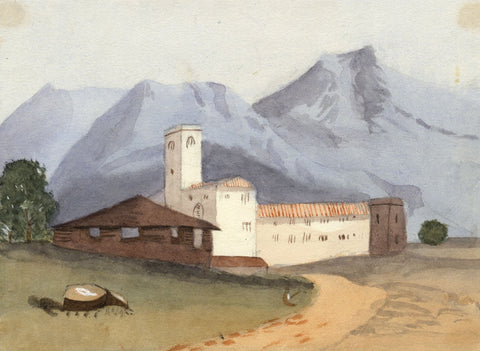 Gertrude Robinson, Continental Monastery in Mountains -1875 watercolour painting