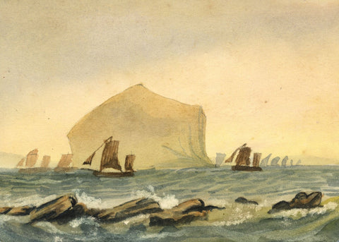 Leonard Robinson, Sailing Boats off Coast - Original 1878 watercolour painting