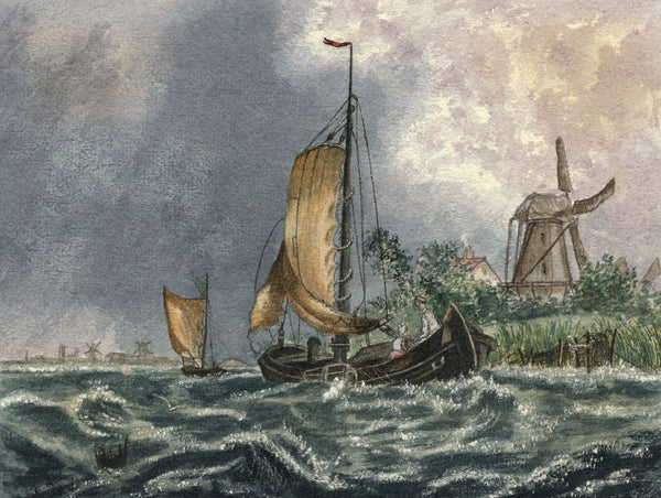 Ethel Robinson, Dutch Seascape with Boat & Windmill - 1878 watercolour painting