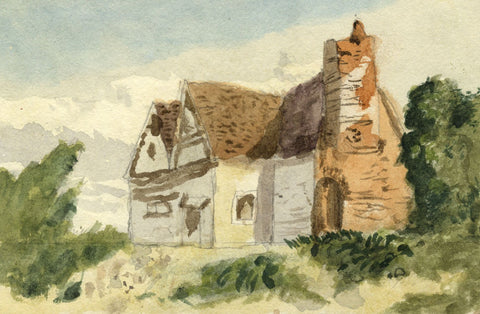 Beatrice Robinson, Rural Cottage - Original 1879 watercolour painting