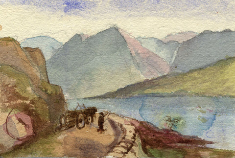 Beatrice Robinson, Mountain Lake with Horse & Cart - 1879 watercolour painting