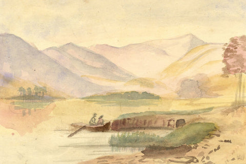 Beatrice Robinson, Mountain Lake with Rowing Boat - 1879 watercolour painting