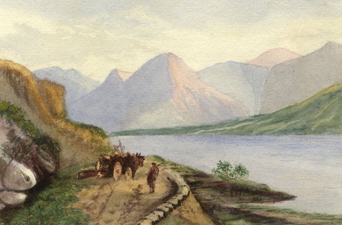 Gertrude Robinson, Mountain Lake with Horse & Cart - 1879 watercolour painting