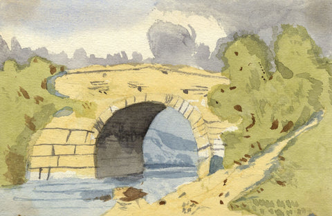 Gertrude Robinson, Stone Bridge Study - Original 1875 watercolour painting