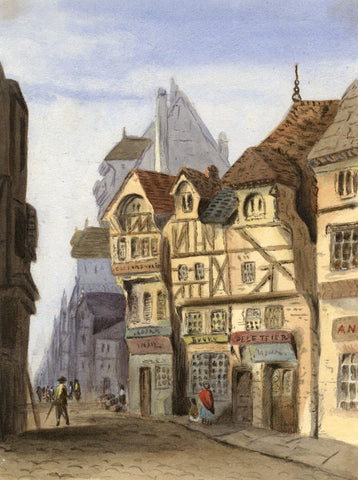 Agnes Robinson, Medieval Old Town, France - Original 1875 watercolour painting