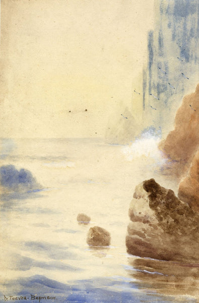 D. Trevor-Bramson, Rocks near Lands End, Cornwall - Mid-20th-century watercolour