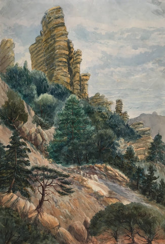 Rock Formations with Pine Trees -Original late 19th-century watercolour painting