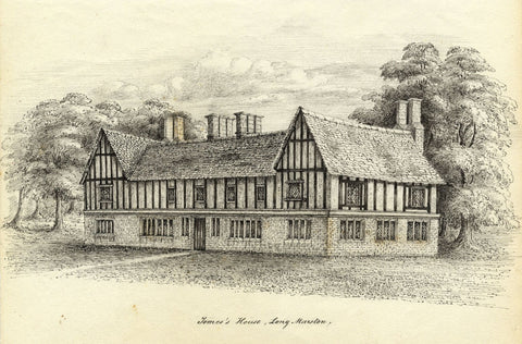 M.S. Smith, Tomes's House, Long Marston, Stratford-upon-Avon -c.1870 ink drawing