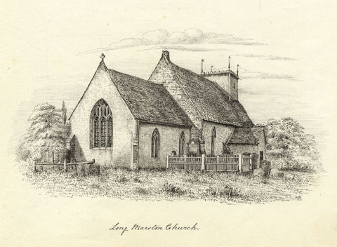 M.S. Smith, St James Church, Long Marston, Stratford-upon-Avon -1871 ink drawing