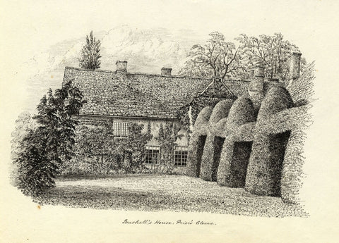 M.S. Smith, Cleeve Prior Manor House, Worcestershire - 1872 ink drawing